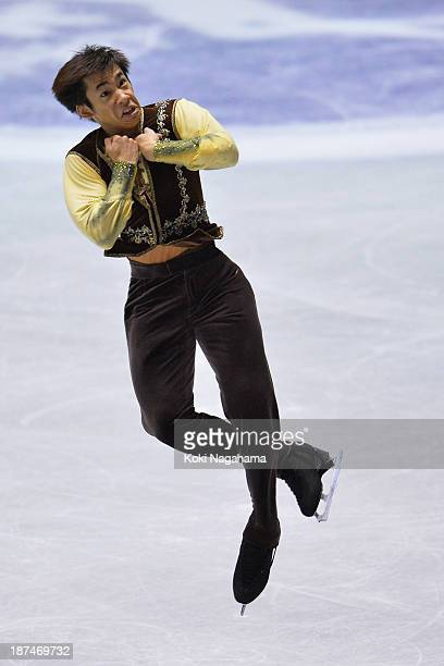 Nobunari Oda of Japan competes in the men's free program during day two of ISU Grand Prix of Figure Skating 2013/2014 NHK Trophy at Yoyogi National...