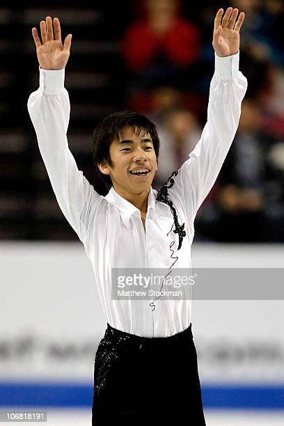 Nobunari Oda of Japan completes his routine in the Free Skate during Skate America at Rose Garden Arena on November 13 2010 in Portland Oregon