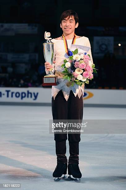 Nobunari Oda of Japan poses after winning the Men's competition during day three of the ISU Nebelhorn Trophy at Eissportzentrum Oberstdorf on...