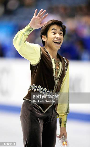 Nobunari Oda of Japan reacts after competing in the Men's Free Program during day two of the ISU Grand Prix of Figure Skating 2013/2014 NHK Trophy at...