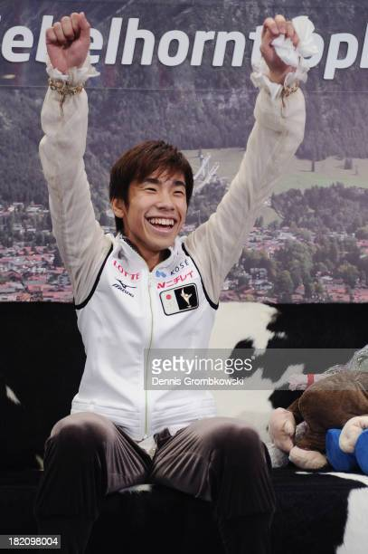 Nobunari Oda of Japan reacts after finishing first in the Men Free Skating competition during day three of the ISU Nebelhorn Trophy at...