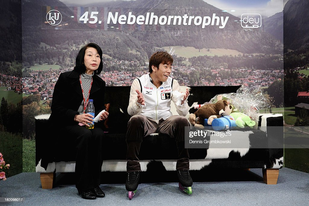 Nobunari Oda of Japan reacts after finishing first in the Men Free Skating competition during day three of the ISU Nebelhorn Trophy at Eissportzentrum Oberstdorf on September 28, 2013 in Oberstdorf, Germany.