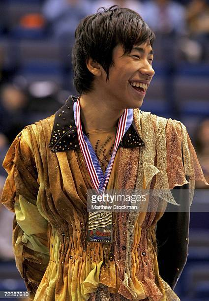 Nobunari Oda of Japan receives his gold medal after winning the men's competition during Skate America at the Hartford Civic Center October 27 2006...