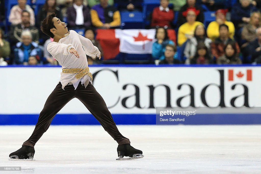 <a gi-track='captionPersonalityLinkClicked' href=/galleries/search?phrase=Nobunari+Oda+-+Figure+Skater&family=editorial&specificpeople=727292 ng-click='$event.stopPropagation()'>Nobunari Oda</a> of Japan skates during the men's free program on day two at the ISU GP 2013 Skate Canada International at Harbour Station on October 26, 2013 in Saint John, New Brunswick, Canada.