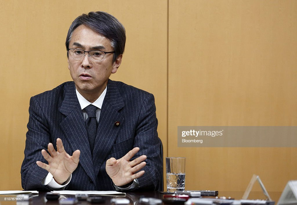 <a gi-track='captionPersonalityLinkClicked' href=/galleries/search?phrase=Nobuteru+Ishihara&family=editorial&specificpeople=2258645 ng-click='$event.stopPropagation()'>Nobuteru Ishihara</a>, Japan's economy minister, gestures as he speaks during a group interview in Tokyo, Japan, on Wednesday, Feb. 17, 2016. Ishihara, Japan's new economy minister, said a sales tax increase, set to take effect April 2017, is needed to fund welfare and to maintain global confidence in the nation's finances. Photographer: Tomohiro Ohsumi/Bloomberg via Getty Images