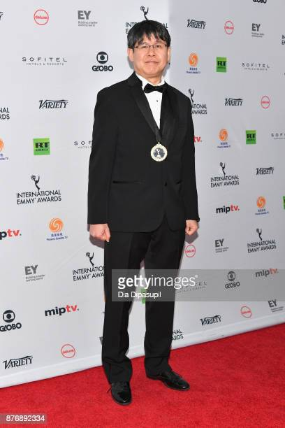 Nobuto Ariyoshi of NeverEnding Man Hayao Miyazaki attends the 45th International Emmy Awards at New York Hilton on November 20 2017 in New York City