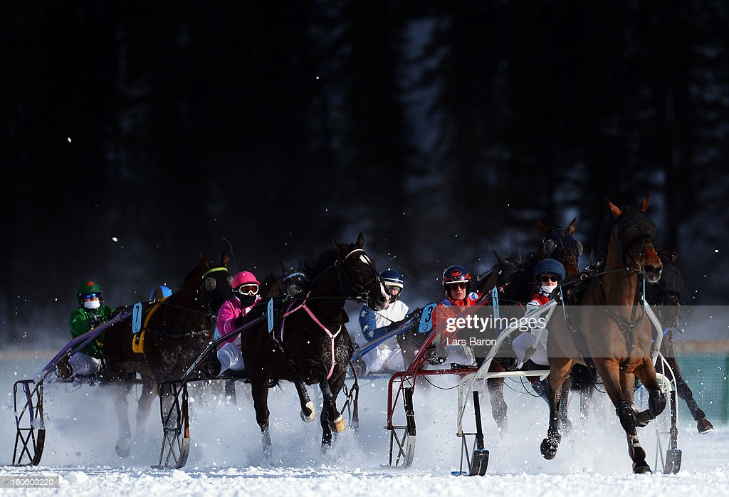 Noceen de Digeon ridden by Philippe Besson (R) leads the field into the final turn during the Grand Prix Elektro Koller race at the White Turf horse racing meeting held on the frozen Lake St Moritz on February 3, 2013 in St Moritz, Switzerland.
