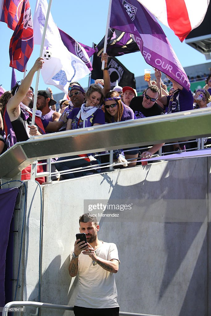 Nocerino takes a selfie photo with fans prior to a MLS soccer match between Real Salt Lake and the Orlando City SC at the Orlando Citrus Bowl on March 6, 2016 in Orlando, Florida. The game ended in a 2-2 draw.