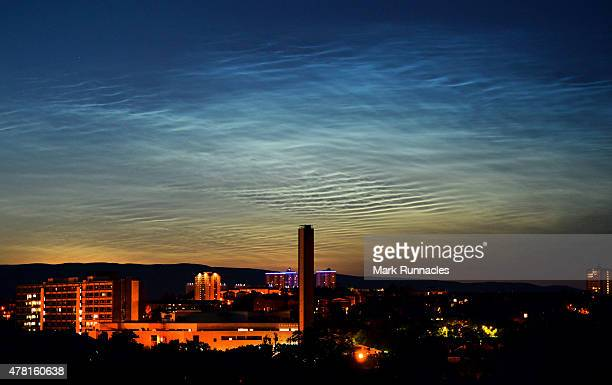 Noctilucent Clouds visible on Glasgow's northern horizon just after midnight on June 23 2015 in Glasgow Scotland Noctilucent Clouds are the highest...