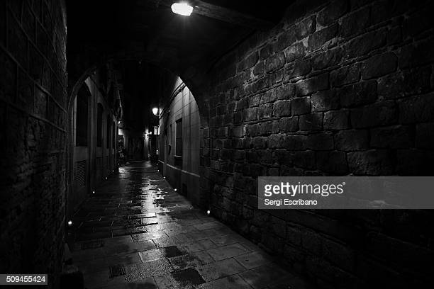 Nocturnal view of a Barcelona street