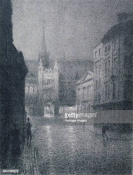 Nocturnal view of the Guildhall from the corner of Gresham Street City of London 1900