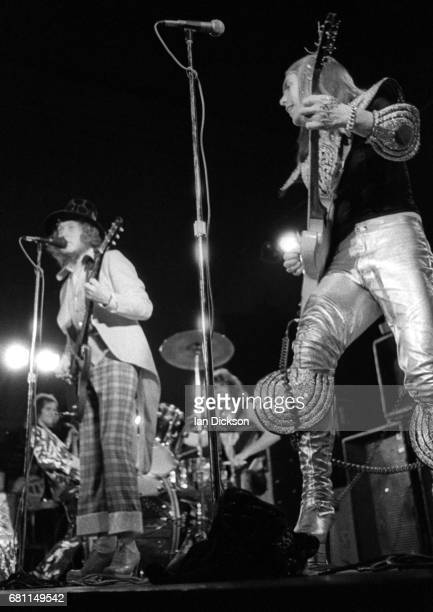 Noddy Holder and Dave Hill of Slade performing on stage at City Hall NewcastleuponTyne 06 January 1973