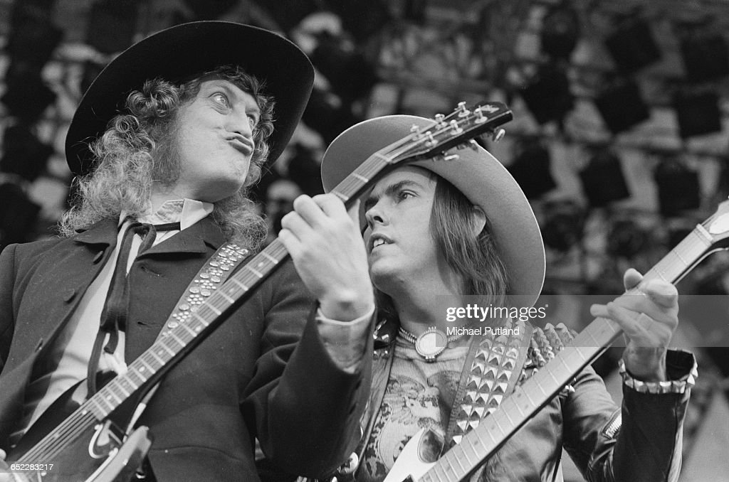 Noddy Holder and Dave Hill performing with British rock group Slade at the Monsters of Rock festival at Donington Park Leicestershire 22nd August 1981