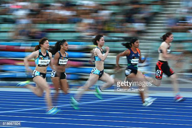 Nodoka Seko of Japan competes in the womens 100m semifinal during the Australian Athletics Championships at Sydney Olympic Park on April 2 2016 in...