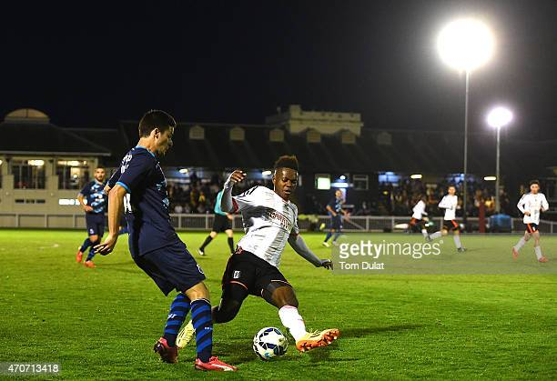 Noe Baba of Fulham U21 and David Bruno of Porto U21 in action during the Barclays U21 Premier League International Cup Semi Final match between...