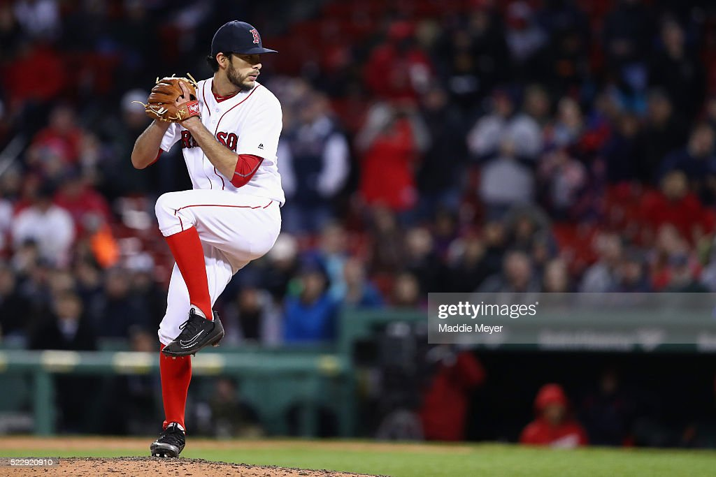Noe Ramirez #66 of the Boston Red Sox pitches against the Tampa Bay Rays during the ninth inning at Fenway Park on April 20, 2016 in Boston, Massachusetts.