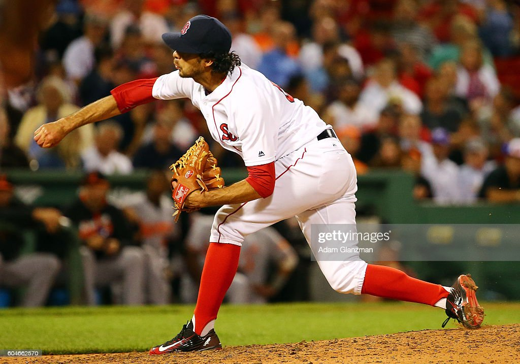 Noe Ramirez #66 of the Boston Red Sox pitches in the ninth inning of a game against the Baltimore Orioles at Fenway Park on September 13, 2016 in Boston, Massachusetts.