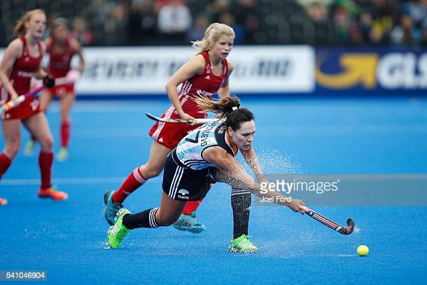 Noel Barrionuevo of Argentina plays a pass during the FIH Women's Hockey Champions Trophy 2016 match between Great Britain and Argentina at Queen...