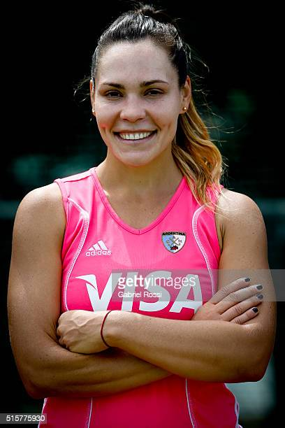 Noel Barrionuevo poses for pictures during a portrait session as part of Argentina Las Leonas Media Day at Cenard on March 15 2016 in Buenos Aires...