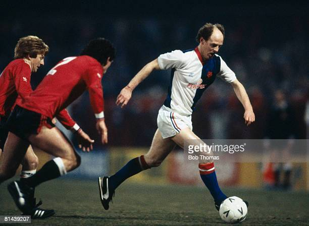 Noel Brotherston in action for Blackburn Rovers during their FA Cup 5th round match against Manchester United at Ewood Park February 15th 1985...