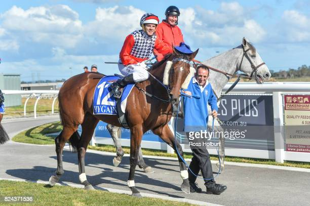Noel Callow returns to the mounting yard on Oracabessa after winning the Drouin Golf Country Club Maiden Plate at Racingcom Park Synthetic Racecourse...