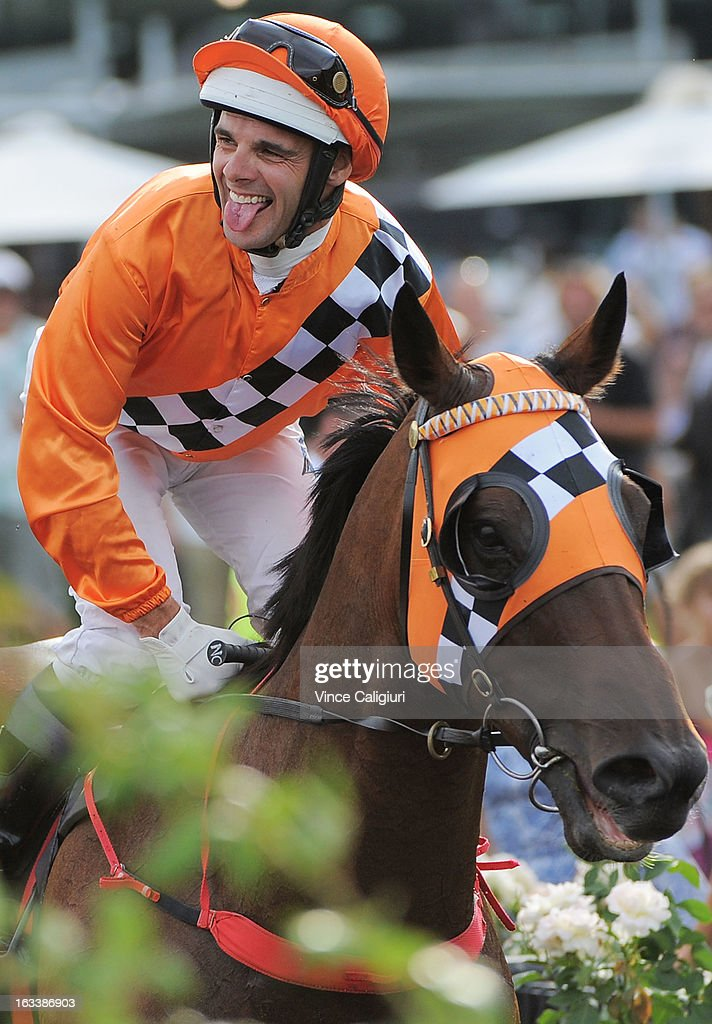 Noel Callow riding Centennial Park after winning the Super Saturday Stakes during Super Saturday at Flemington Racecourse on March 9, 2013 in Melbourne, Australia.