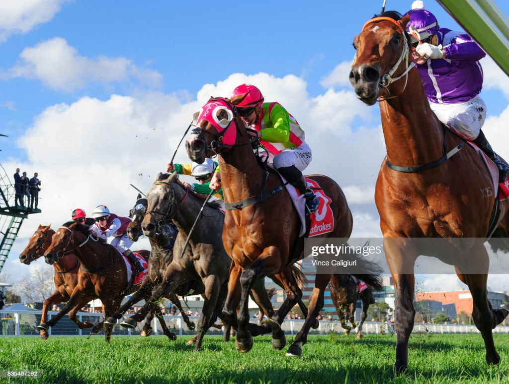 Noel Callow riding Ducimus, Ben Thompson riding Kobayashi finish out of placings in Race 6 Vain Stakes during Melbourne Racing at Caulfield Racecourse on August 19, 2017 in Melbourne, Australia.