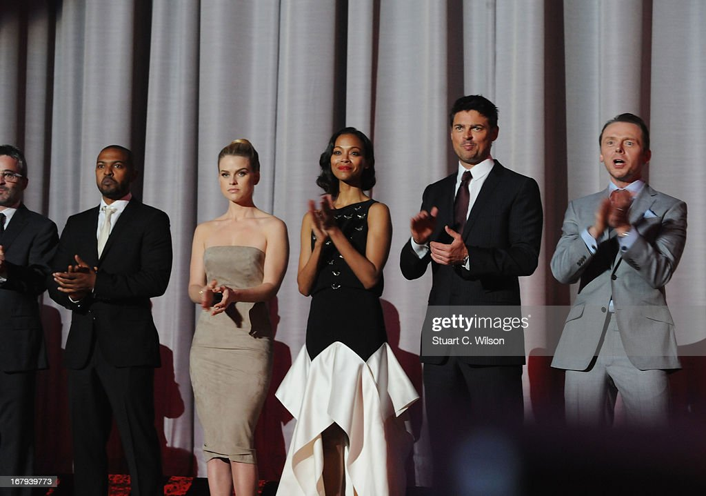 Noel Clark; Alice Eve, Zoe Saldana, Karl Urban, Simon Pegg and attend the UK Premiere of 'Star Trek Into Darkness' at The Empire Cinema on May 2, 2013 in London, England.