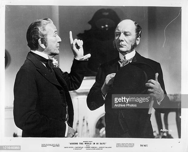 Noel Coward pointing his finger at John Gielgud in a scene from the film 'Around The World In Eighty Days' 1956