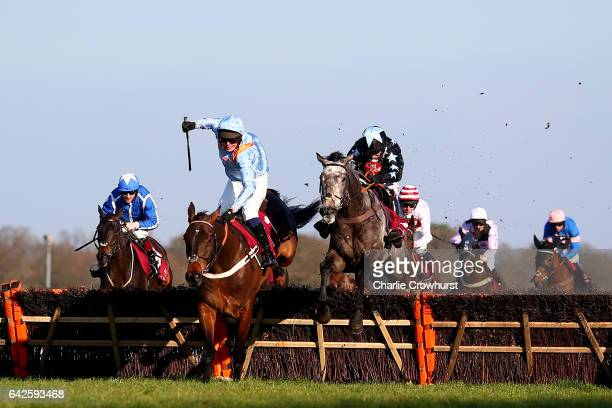 Noel Fehily rides Air Horse to win The Les Ambassadeurs Casino Handicap Hurdle Race ahead of Ned Curtis on Divine Spear at Ascot Racecourse on...