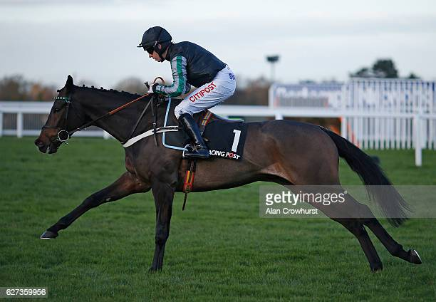 Noel Fehily riding Altior on their way to winning The Racing Post Henry VII Novices' Steeple Chase at Sandown Park on December 3 2016 in Esher England