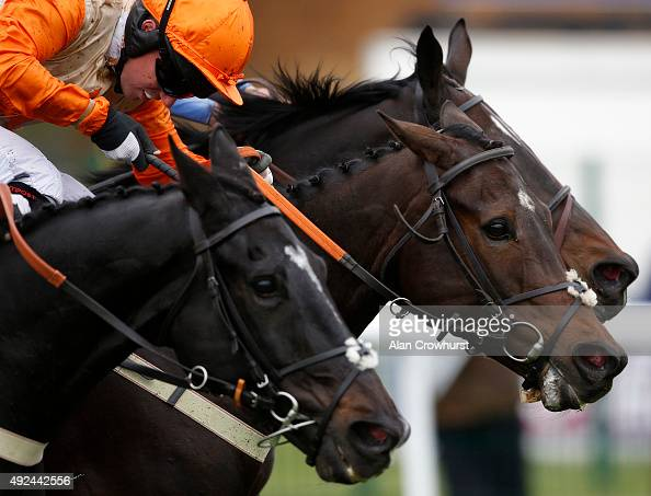 Noel Fehily riding Issac Bell clear the last to win The 32Red Casino Handicap Hurdle Race at Huntingdon racecourse on October 13 2015 in Huntingdon...