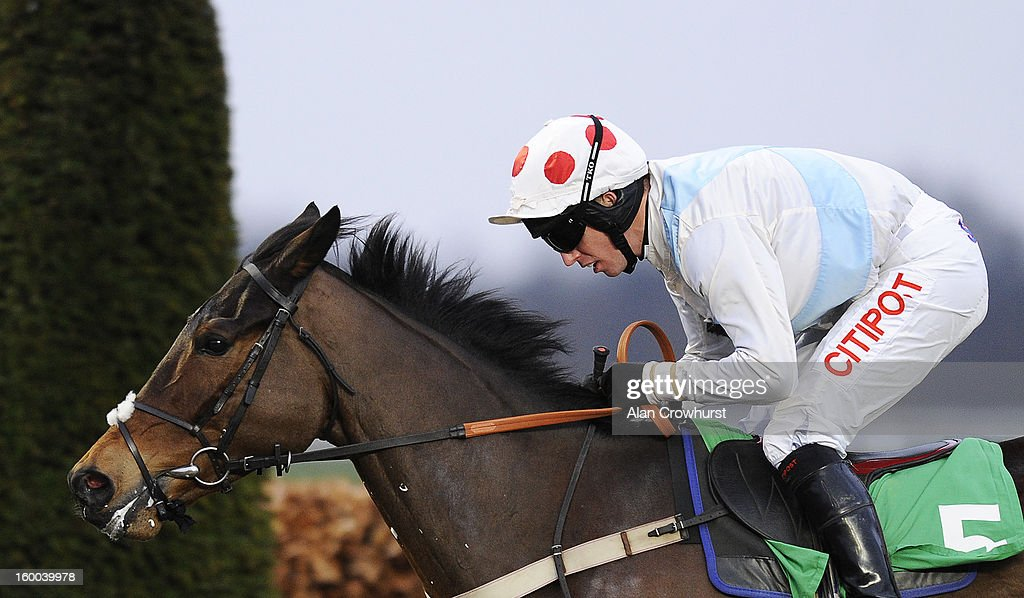 <a gi-track='captionPersonalityLinkClicked' href=/galleries/search?phrase=Noel+Fehily&family=editorial&specificpeople=241420 ng-click='$event.stopPropagation()'>Noel Fehily</a> riding Karinga Bay win The Follow Us On Twitter @BetVictorRacing 'Jumpers' Bumper' NAtional Hunt Flat Race at Kempton racecourse on January 25, 2013 in Sunbury, England.