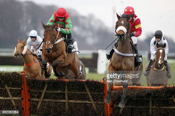 Noel Fehily riding Neon Wolf on their way to winning The Sky Bet Supreme Trail Rossington Main Novices Hurdle Race at Haydock Racecourse on January...