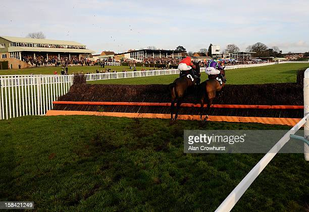 Noel Fehily riding No No Bingo clear the last to win The C Stanley Jones Handicap Steeple Chase during the last meeting to be held at Hereford...