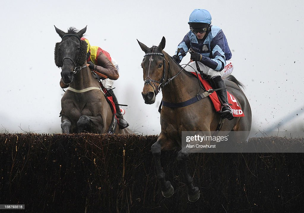 Noel Fehily riding Pete The Feat (R) on their way to winning The Betfred Mandarin Handicap Steeple Chase at Newbury racecourse on December 29, 2012 in Newbury, England.