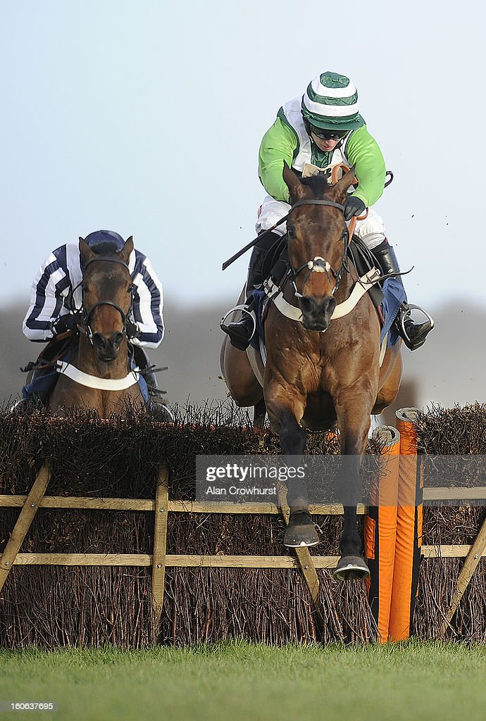 Noel Fehily riding Rock On Ruby clear the last to win The 32Red Hurdle Race at Doncaster racecourse on February 04, 2013 in Doncaster, England.