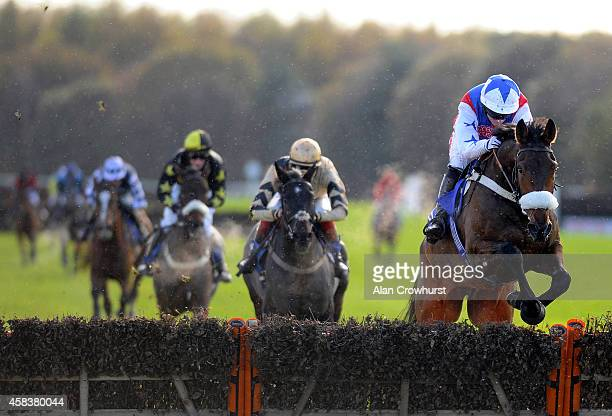 Noel Fehily riding Thomas Brown clear the last to win The Bathwick Tyres Bideford 'National Hunt' Novices' Hurdle Race at Exeter racecourse on...