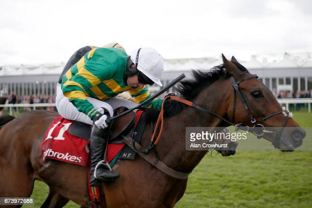 Noel Fehily riding Unowhatimeanharry clear the last to win The Ladbrokes Champion Stayers Hurdle from Nichols Canyon at Punchestown racecourse on...
