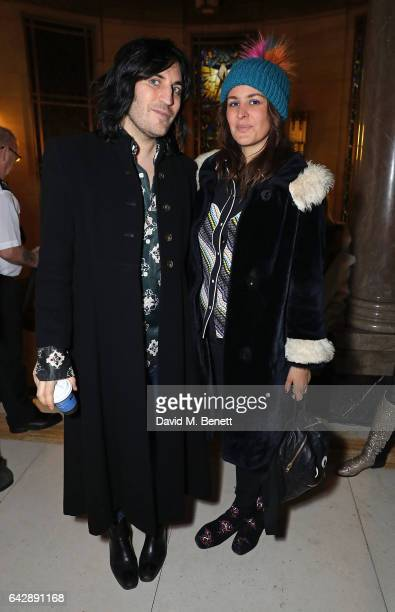 Noel Fielding and guest attend the Pam Hogg show during the London Fashion Week February 2017 collections at Freemasons Hall on February 19 2017 in...