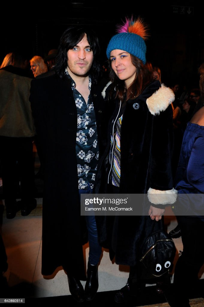 Noel Fielding and Lliana Bird attend the Pam Hogg show during the London Fashion Week February 2017 collections on February 19, 2017 in London, England.