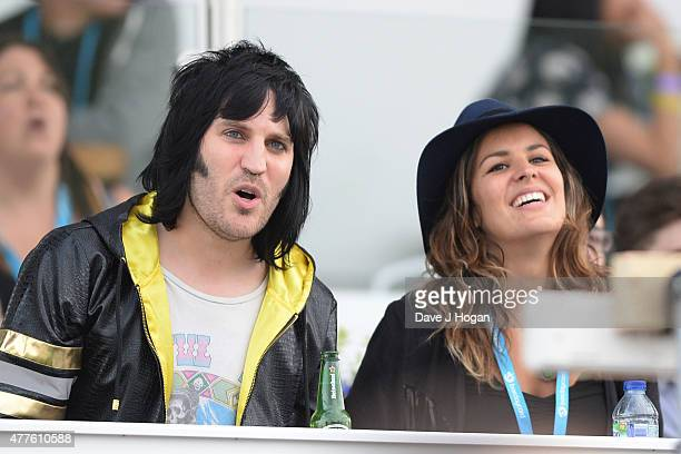 Noel Fielding and Lliana Bird in the Barclay Card VIP Hospitality Suite as part of the British Summer Time 2015 gigs at Hyde Park on June 18 2015 in...