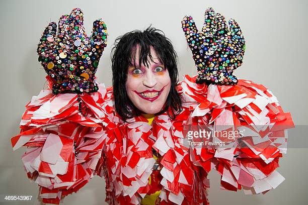 Noel Fielding backstage at the Bas Kosters show at London Fashion Week AW14 at The Dutch Centre on February 15 2014 in London England