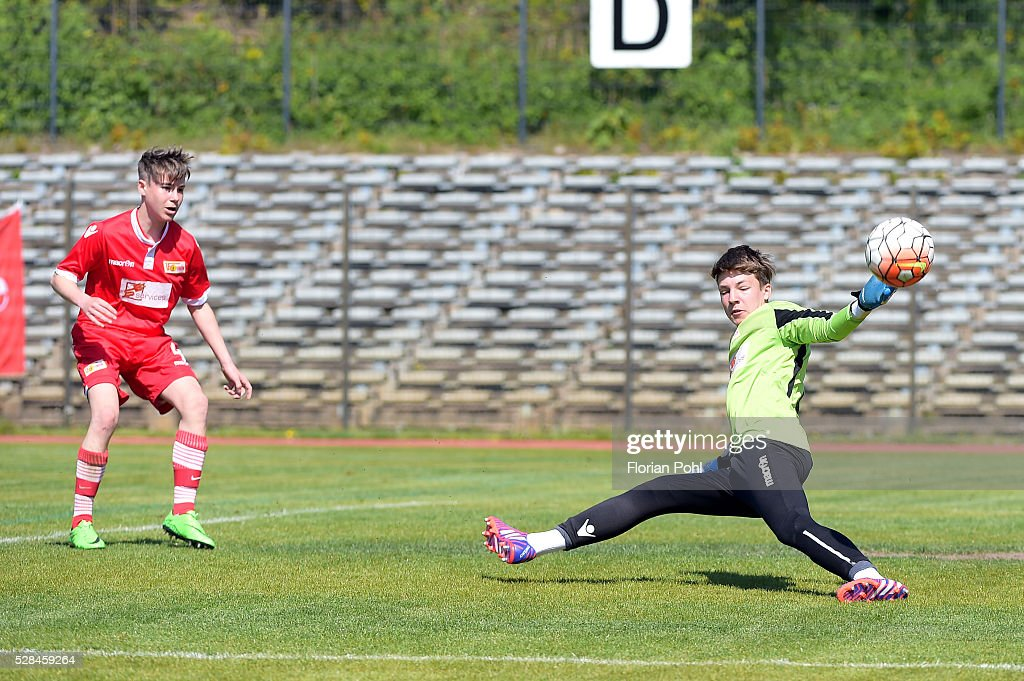 Noel Fortier and Karl Scharf of 1 FC Union Berlin During the C-juniors cup match between 1 FC Union Berlin and Hertha BSC on May 5, 2016 in Berlin, Germany.