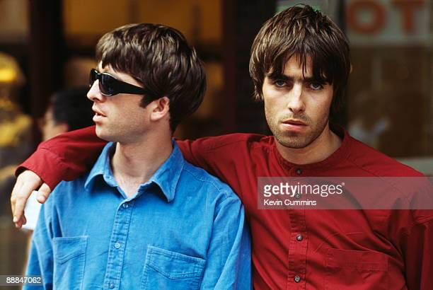 Noel Gallagher and his brother Liam guitarist and singer respectively of British rock band Oasis 2nd August 1994