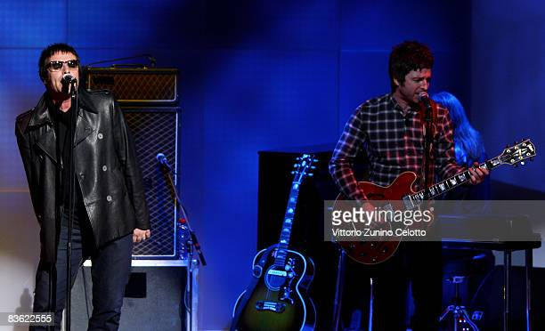 Noel Gallagher and Liam Gallagher of Oasis attend 'Che Tempo Che Fa' Italian TV Show on November 9 2008 in Milan Italy