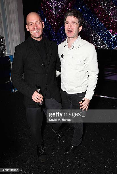 Noel Gallagher and Paul Rowe are seen at Warner Belvedere Post BRIT Awards party at The Savoy Hotel on February 19 2014 in London England