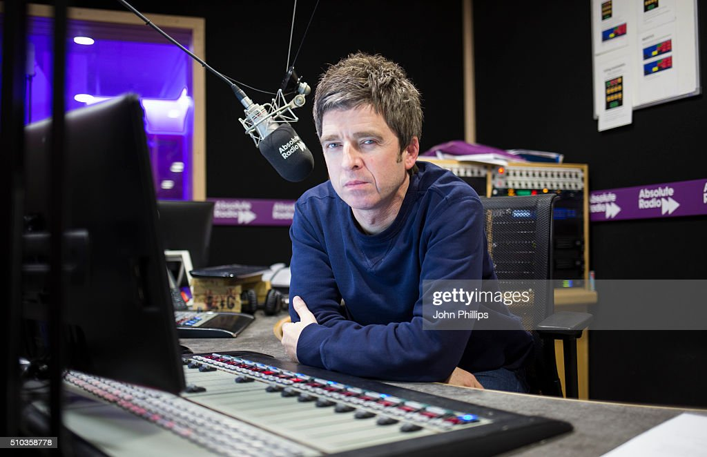 Noel Gallagher hosting a special show for Absolute Radio with co-host, comedian, Matt Morgan on February 11, 2016 in London, England.