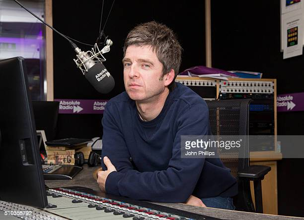 Noel Gallagher hosting a special show for Absolute Radio with cohost comedian Matt Morgan on February 11 2016 in London England