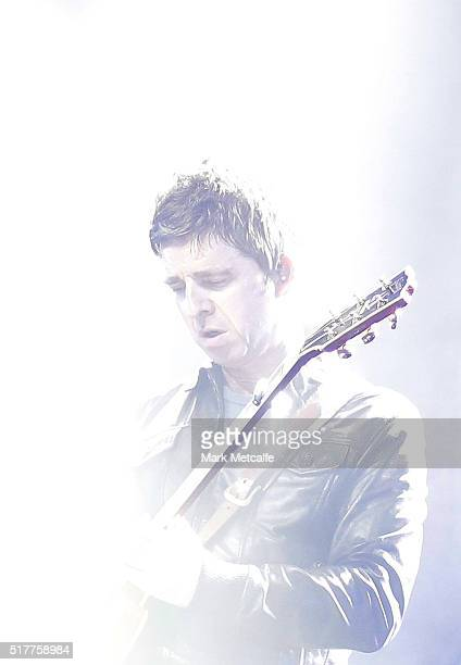 Noel Gallagher of Noel Gallagher's High Flying Birds performs live for fans at the 2016 Byron Bay Bluesfest on March 27 2016 in Byron Bay Australia